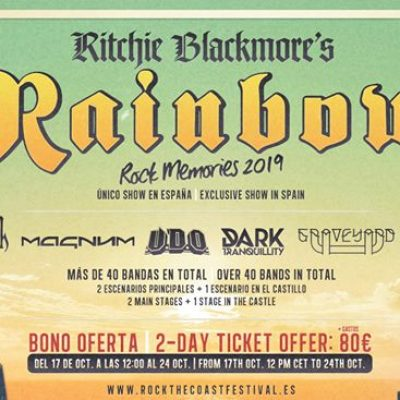 Rock The Coast Festival 2019 confirmou os Rainbow, U.D.O. e Opeth