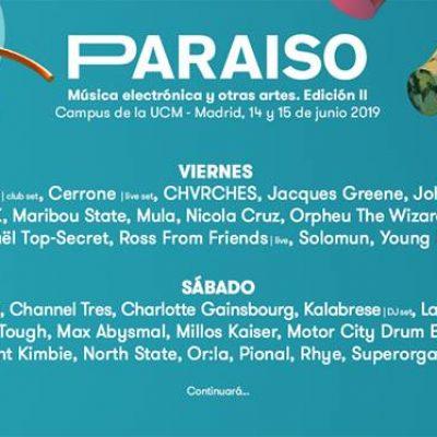 Paraíso Festival 2019 Madrid com Laurent Garnier, Solomun, Chvrches, Charlotte Gainsbourg