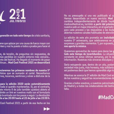 Festival Mad Cool 2020 foi adiado para julho de 2021