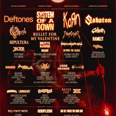 Resurrection Fest 2021 revelou cartaz por dias com System Of A Down, KoRn, Deftones e Sabaton