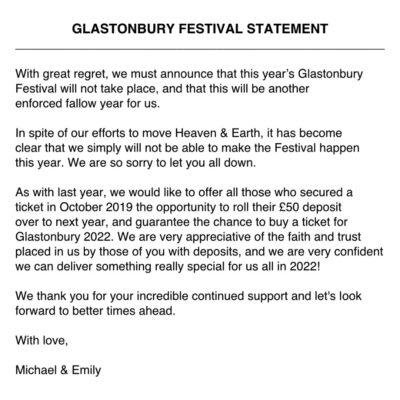 Glastonbury Festival 2021 não se vai realizar! Edição de 2020 adiada para 2022