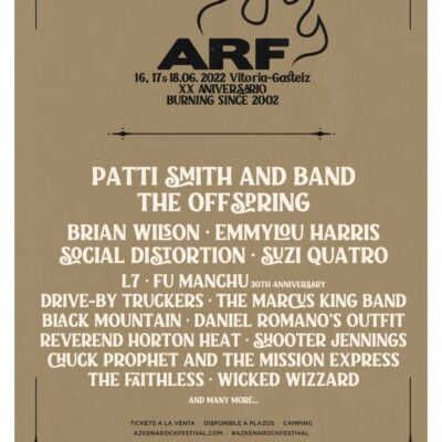 Azkena Rock Festival ARF 2022 com Patti Smith, Offspring, Brian Wilson