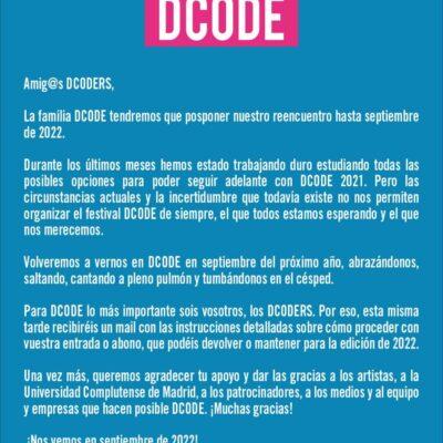 Festival DCODE 2021 foi adiado para setembro de 2022